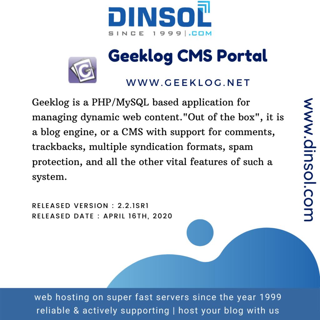 Geeklog CMS Portal Hosting with cPanel